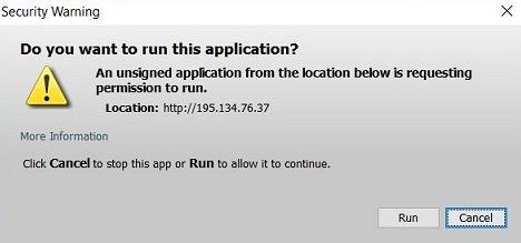 Activation of Java/Applets