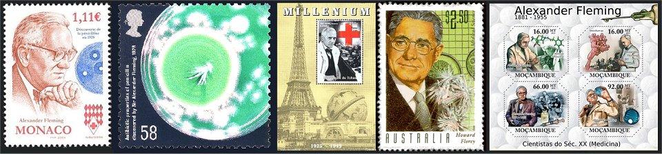 Λίγα από τα γραμματόσημα που κυκλοφόρησαν πολλά κράτη προς τιμήν εκείνων  που ανακάλυψαν την πενικιλλίνη. 812d3d061c7